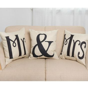 45cm*45cm Couples Cotton Linen Mr & Mrs Knitted Cushion Cover Decorative Pillow Covers Wedding Gift Home Decor Pillowcase