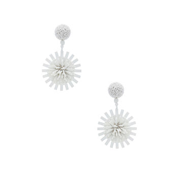 Oscar de la Renta Pom Pom Flower Beaded Earrings in White | FWRD