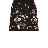 Black Floral Embroidered A-Line Skirt