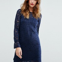 Lipsy Lace Swing Dress With Drop Waist at asos.com