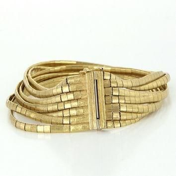 Vintage Cartier 18k Yellow Gold 7 Strand Cocktail Bracelet Fine Designer Signed