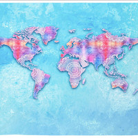 Blue Fabric Map Of Earth Tapestry Wall Hanging Meditation Yoga Grunge Hippie