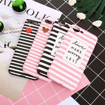 Fashion Heart Camera Window cases For iPhone 7 Soft TPU Black Pink Stripe Phone Back Cover For iPhone 6 6S 7 Plus 8 Plus Case
