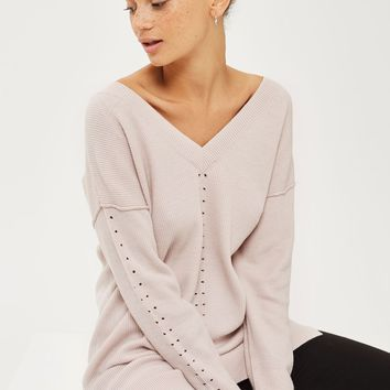 'Longline Soft Pointelle Detail Jumper | Topshop