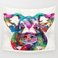 Colorful Pig Art - Squeal Appeal - By Sharon Cummings Wall Tapestry by Sharon Cummings