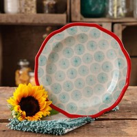 "The Pioneer Woman Happiness 8.5"" Red Rim Decorated Scallop Shape Salad Plates - Walmart.com"