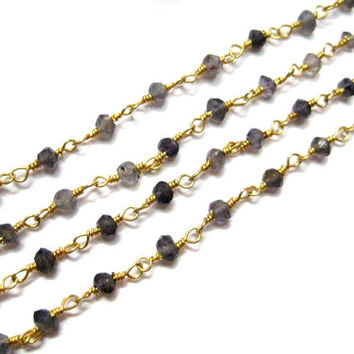 Iolite Gemstone Faceted Beads Gold Plated 1 feet long wire wrapped Beaded Chain, rosary chains, Beads chains, Bulk Chains, jewelry supplies