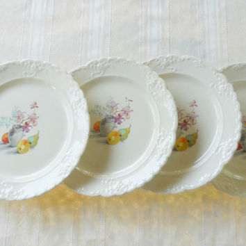 Taylor Smith Taylor Ornate Dinner Plates, Set of 4, Autumn, Tea Party, Pear, Ca. 1940's