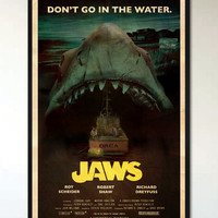 Jaws - Retro Movie Poster - 1960's 1970's Vintage B-Movie Monster Movie Inspired, Retro Alternative Pop Art