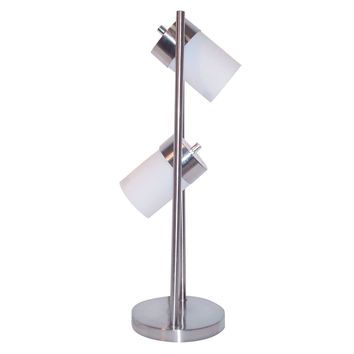 2 -Light Table Lamp with Sleek Chrome Base & Frosted White Shades