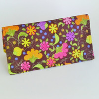 Fabric Checkbook Cover in Black and Bright Floral Print