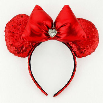Minnie Mouse Ears Sequin Disney Ears Snow White Ears  Red Minnie Bow Sequin Minnie Mouse Bow Sequin Mickey Mouse Red Mickey Ears Minnie Ears