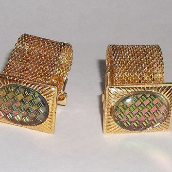 Vintage Cuff Links, Prismatic Multi Color