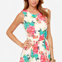 Lucca Couture Tea for Two Cream Floral Print Dress