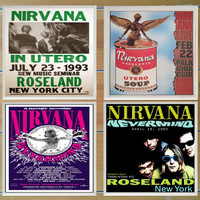 Nirvana Concert Poster Coasters - Set of 4 - Free Shipping