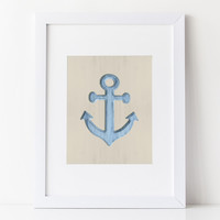 Nautical Art Print - Shabby Blue Anchor on sand colored background
