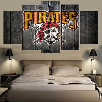 Pittsburgh Pirates Barn Wood Style Canvas Baseball
