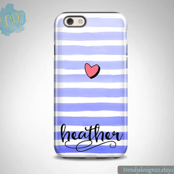 Monogram iPhone 6 case, Personalized iPhone, iPhone 6s case iPhone 6 plus 5C Samsung S6 Edge S5 S4, Blue Watercolor Stripes Pink Heart (21)