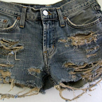 Shredded Shorts Distressed Size 1 2 Jean Denim High Waist Waisted Levis