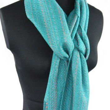 Sea Green Woven Scarf, Teal Women's Clothing, Blue Scarf, Green Scarf