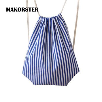 MAKORSTER Fashion women backpack bag drawstring bagpacks Canvas Striped backpacks & carriers cheap printing backpack DJ0113