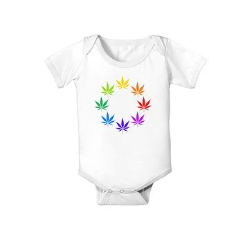 Rainbow Pot - Marijuana Leaf Baby Romper Bodysuit