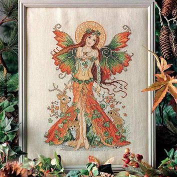 Counted Cross Stitch Kit Autumn Fairy Goddess and Deer Rabbit Bunny Fox Animal
