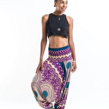 Geometric Mandalas Jumpsuit Harem Pants in Purple