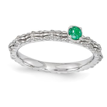 Sterling Silver Stackable Expressions Simulated Emerald Single Stone Ring
