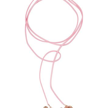 Florette Wrap Fragrance Necklace with Rose Gold Tone Charms - Pink