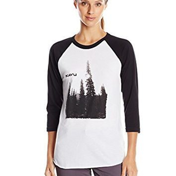 KAVU Women's Retro Tee, Black/White, X-Small