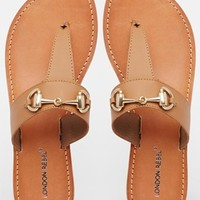 London Rebel Match Leather Bar Toe Post Flat Sandals