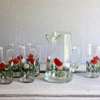 glass pitcher and tumbler set iced tea lemonade drink set federal glass flowers