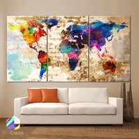 "LARGE 30""x 60"" 3 Panels Art Canvas Print Original  Watercolor Texture Map Old brick Wall Full color decor Home interior (framed 1.5"" depth)"