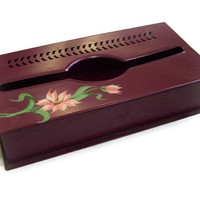 Vintage Tin Box Kleenex Tissue Holder 1950's Hand Painted Floral Roses Burgandy