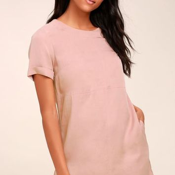 Fine Finesse Mauve Pink Shift Dress
