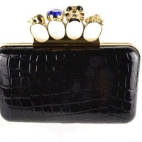 Skull Clutch Black Patent Leather Knuckle Duster Four Ring Evening Bag