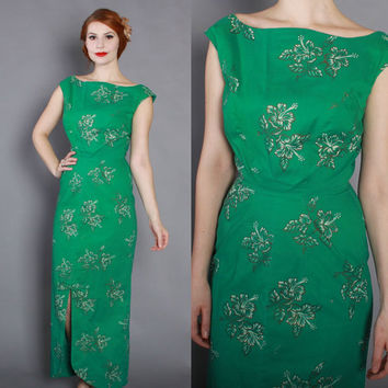 60s Bombshell HAWAIIAN DRESS / 1960s Green & Metallic Gold Tropical Floral Print Maxi xs