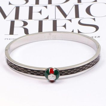 GUCCI High Quality New Fashion More Letter Women Men Personality Bracelet Silver