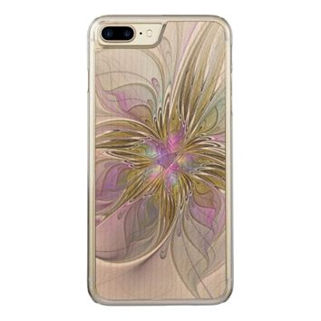 Floral abstract and colorful Fractal Art Carved iPhone 7 Plus Case