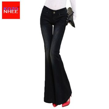 KOZONHEE Stretch Elastic Black Flare Jeans Women Long Stretching Bell-Bottoms Jeans For Girls Trousers Women Jeans Large Size