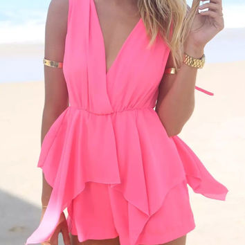 Pink V-neck Sleeveless Chiffon Rompers