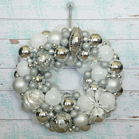 White Christmas Ornament Wreath - Silver Holiday Wreath - Christmas Decor