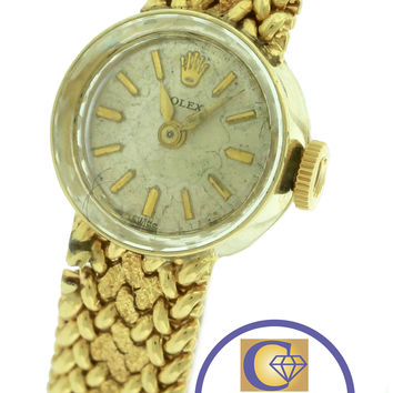 Ladies Vintage Rolex Chameleon 14K Yellow Gold 15mm Silver Manual 1401 Watch