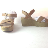 Size 10 Kork Ease Style Sandal Retro 70s Wedge Criss Cross Strappy Shoe  Nude Leather Heels Nine West Size 10