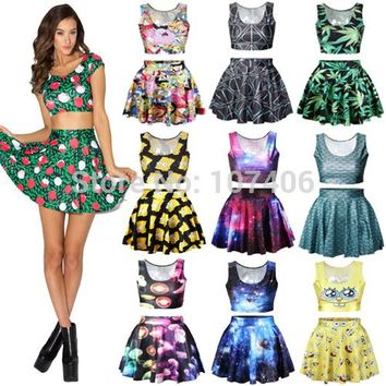 Fashion Adventure Time Cartoon Print Women crop top and skirt set galaxy saia Skirt casual Women clothing plus size free