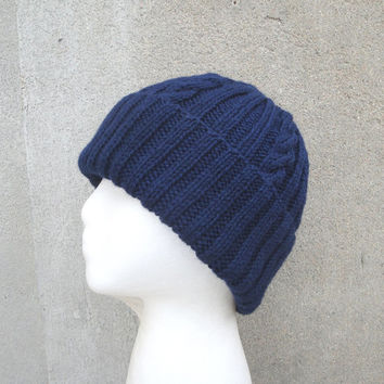 Classy Hat with Cables, Navy Blue, Knitted Wool Beanie Watch Cap, Men Teens & Women