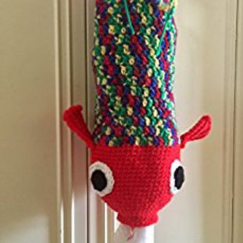 Red fish grocery bag holder, red fish plastic bag holder, fish bag holder, kitchen bag holder, plastic bag holder, crochet fish bag holder