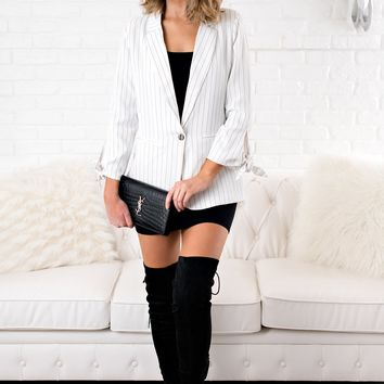 Never Love Me Striped Blazer (White)