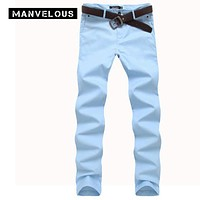 Manvelous Cotton Pants Mens 2017 Summer Cotton Straight Joggers Mens Brand Clothing Lightweight Khaki & Sky Blue Color Trousers